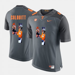 Mens Tennessee Volunteers #4 Britton Colquitt Grey Pictorial Fashion Jersey 411482-660