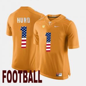 Men UT Volunteer #1 Jalen Hurd Orange US Flag Fashion Jersey 855386-291