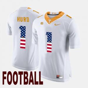 For Men's UT Volunteer #1 Jalen Hurd White US Flag Fashion Jersey 663497-633
