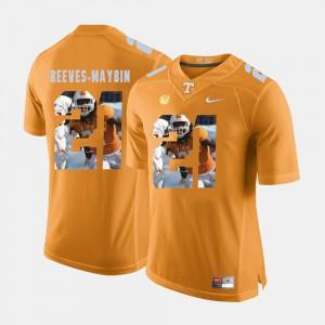 For Men UT Volunteer #21 Jalen Reeves-Maybin Orange Pictorial Fashion Jersey 525636-542