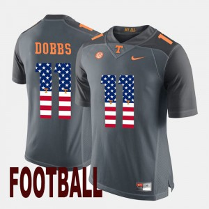 Men UT VOLS #11 Joshua Dobbs Gray US Flag Fashion Jersey 957569-822