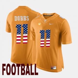 Mens UT VOLS #11 Joshua Dobbs Orange US Flag Fashion Jersey 937559-981