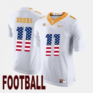 For Men Tennessee Volunteers #11 Joshua Dobbs White US Flag Fashion Jersey 121589-295