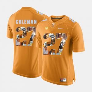 Mens VOL #27 Justin Coleman Orange Pictorial Fashion Jersey 403331-896