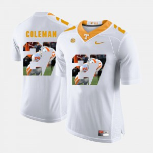 Men Tennessee Volunteers #27 Justin Coleman White Pictorial Fashion Jersey 314949-403