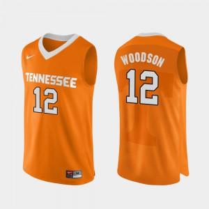 Mens TN VOLS #12 Brad Woodson Orange Authentic Performace College Basketball Jersey 900145-251