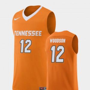 Mens Tennessee Vols #12 Brad Woodson Orange Replica College Basketball Jersey 475985-760