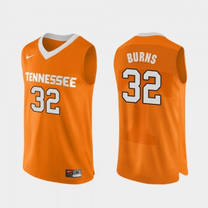 Mens University Of Tennessee #32 D.J. Burns Orange Authentic Performace College Basketball Jersey 591492-500