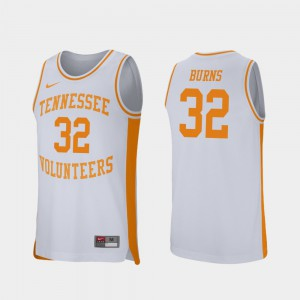 For Men's Tennessee Vols #32 D.J. Burns White Retro Performance College Basketball Jersey 884665-833