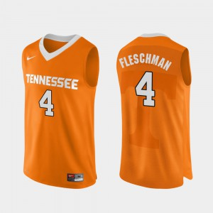 For Men's Tennessee #4 Jacob Fleschman Orange Authentic Performace College Basketball Jersey 711876-853
