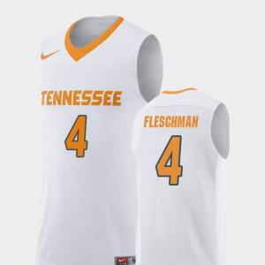 For Men's UT Volunteer #4 Jacob Fleschman White Replica College Basketball Jersey 850448-352