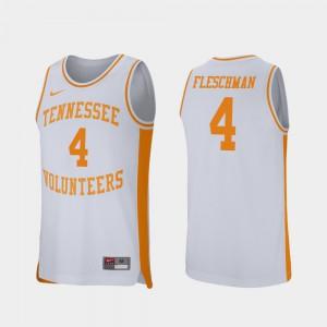 Men's Tennessee Volunteers #4 Jacob Fleschman White Retro Performance College Basketball Jersey 482285-654