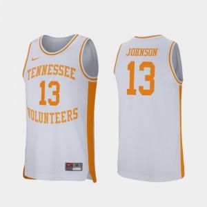 For Men's Vols #13 Jalen Johnson White Retro Performance College Basketball Jersey 271886-806