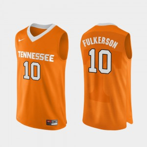 For Men's TN VOLS #10 John Fulkerson Orange Authentic Performace College Basketball Jersey 358597-863
