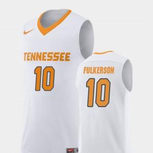 Mens Vols #10 John Fulkerson White Replica College Basketball Jersey 429941-651