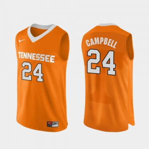 Men's University Of Tennessee #24 Lucas Campbell Orange Authentic Performace College Basketball Jersey 147351-459