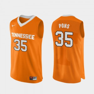 For Men's Tennessee Volunteers #35 Yves Pons Orange Authentic Performace College Basketball Jersey 400608-711