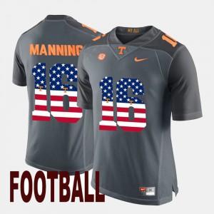 Men Vols #16 Peyton Manning Gray US Flag Fashion Jersey 827023-240