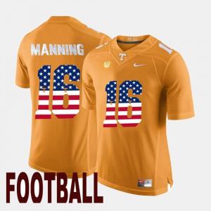 Mens VOL #16 Peyton Manning Orange US Flag Fashion Jersey 180609-328
