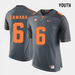 Kids UT Volunteer #6 Alvin Kamara Grey College Football Jersey 829809-314