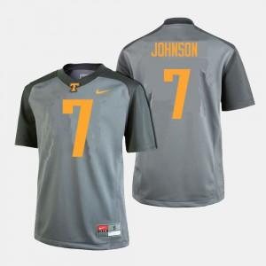 Men UT VOLS #7 Brandon Johnson Gray College Football Jersey 445524-752