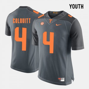 For Kids Tennessee Vols #4 Britton Colquitt Grey College Football Jersey 258885-346