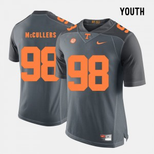 Youth(Kids) UT VOLS #98 Daniel McCullers Grey College Football Jersey 918153-578