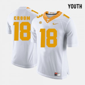Youth VOL #18 Jason Croom White College Football Jersey 340593-288