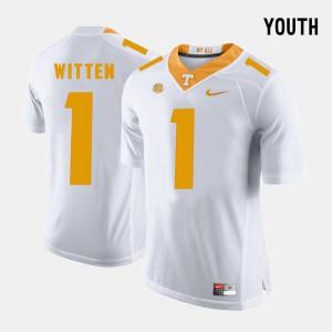 Youth UT #1 Jason Witten White College Football Jersey 505854-928