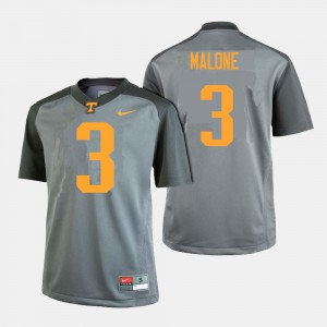 For Men Tennessee #3 Josh Malone Gray College Football Jersey 951868-123