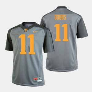 Men Tennessee #11 Joshua Dobbs Gray College Football Jersey 205021-736