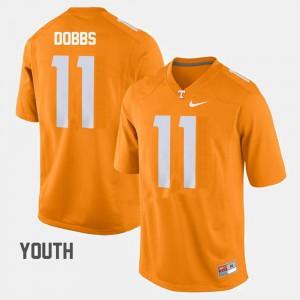 Youth(Kids) Tennessee Volunteers #11 Joshua Dobbs Orange College Football Jersey 882241-208