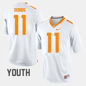 Youth UT VOLS #11 Joshua Dobbs White College Football Jersey 788781-536