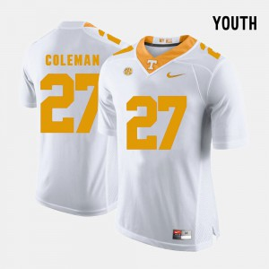 Youth(Kids) UT #27 Justin Coleman White College Football Jersey 230613-117