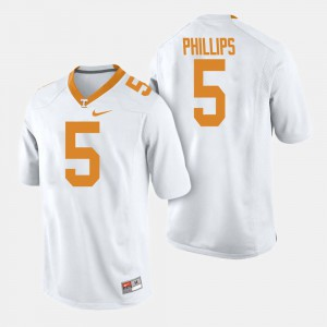 Men University Of Tennessee #5 Kyle Phillips White College Football Jersey 250964-726
