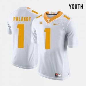 Youth(Kids) UT Volunteer #1 Michael Palardy White College Football Jersey 936771-623
