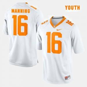 For Kids UT Volunteer #16 Peyton Manning White College Football Jersey 564663-325