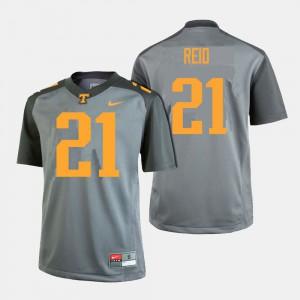 Mens University Of Tennessee #21 Shanon Reid Gray College Football Jersey 995080-611