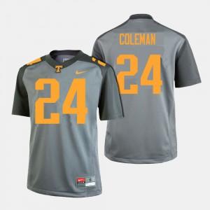 Men Vols #24 Trey Coleman Gray College Football Jersey 328802-684