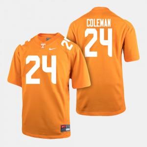 Mens University Of Tennessee #24 Trey Coleman Orange College Football Jersey 342147-862