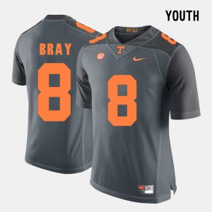 For Kids Tennessee Vols #8 Tyler Bray Grey College Football Jersey 837716-515