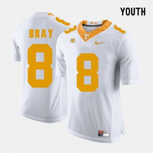 For Kids Tennessee Vols #8 Tyler Bray White College Football Jersey 586688-947
